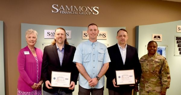 Sammons Financial Group employees receive the Patriot Award